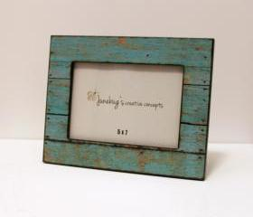 5x7 Wood Photo Frame Weathered Rustic Turquoise