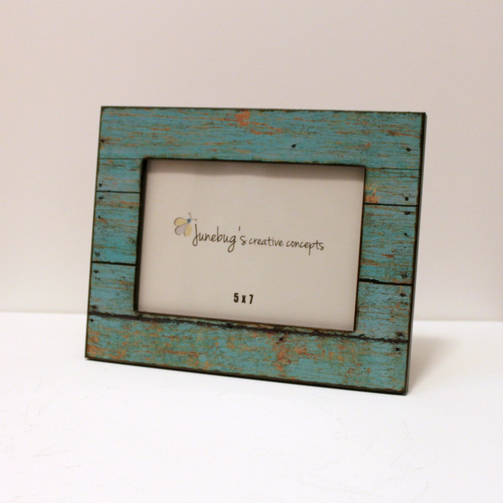Wood Photo Frames : wood photo frame weathered rustic turquoise 1 review 5x7 wood photo ...